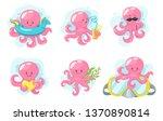 octopus cartoon style baby... | Shutterstock .eps vector #1370890814