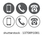 telephone icons set on white... | Shutterstock . vector #1370891081