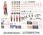 elegant woman animation kit or... | Shutterstock .eps vector #1370895794