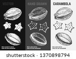 hand drawn carambola icons set... | Shutterstock .eps vector #1370898794