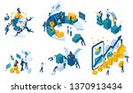isometric set of business... | Shutterstock .eps vector #1370913434