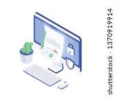 desktop computer  paper...   Shutterstock .eps vector #1370919914