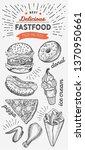 fast food illustrations  burger ... | Shutterstock .eps vector #1370950661