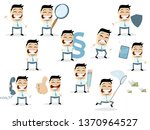 funny cartoon collection of an... | Shutterstock .eps vector #1370964527