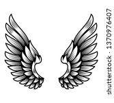wings in tattoo style isolated... | Shutterstock .eps vector #1370976407