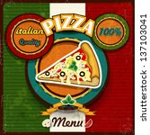 pizza menu vintage style of the ... | Shutterstock .eps vector #137103041