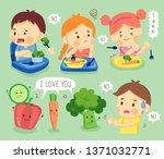 set kids do not like vegetable. ... | Shutterstock .eps vector #1371032771