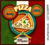 pizza menu vintage style of the ... | Shutterstock . vector #137103899