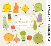 cute vector set of vegetables | Shutterstock .eps vector #137104235