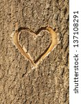 Heart Carved In The Bark Of A...
