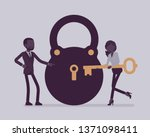 lock and key  business problem... | Shutterstock .eps vector #1371098411