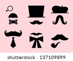 mustaches and hats retro... | Shutterstock .eps vector #137109899