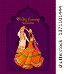 indian bride and groom in... | Shutterstock .eps vector #1371101444