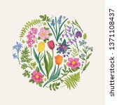 floral round composition with... | Shutterstock .eps vector #1371108437