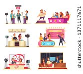 television game show 6 cartoon... | Shutterstock .eps vector #1371117671