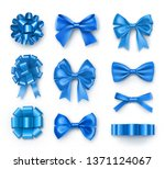 blue gift bows with ribbons.... | Shutterstock .eps vector #1371124067