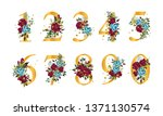 golden floral numbers with... | Shutterstock .eps vector #1371130574