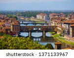 Stock photo beautiful landscape view of amazing florence city with famous medieval stone bridge ponte vecchio 1371133967