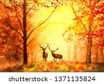 Watercolor Painting   Deer In...