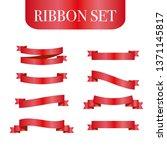 red ribbons set. vector design... | Shutterstock .eps vector #1371145817