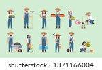 set male female farmers holding ...   Shutterstock .eps vector #1371166004