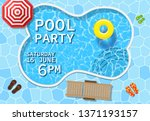 pool party invitation with top... | Shutterstock .eps vector #1371193157