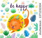 be happy. hand drawn card with... | Shutterstock . vector #1371232334