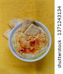 hummus with paprika and sesame... | Shutterstock . vector #1371243134
