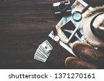top view of traveler...   Shutterstock . vector #1371270161