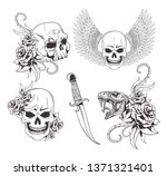 tattoo old school drawing | Shutterstock .eps vector #1371321401