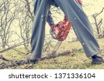 worker using chain saw and... | Shutterstock . vector #1371336104