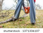 worker using chain saw and... | Shutterstock . vector #1371336107
