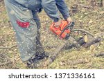 worker using chain saw and... | Shutterstock . vector #1371336161