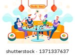 flat sushi time is written... | Shutterstock .eps vector #1371337637