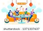 flat sushi time is written... | Shutterstock .eps vector #1371337637