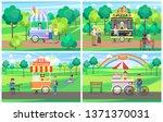 ice cream and pizza stand... | Shutterstock . vector #1371370031