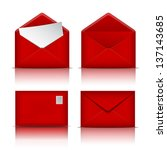 Set Of Red Envelopes. Vector...