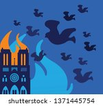notre dame building on fire in... | Shutterstock .eps vector #1371445754