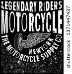 vintage motorcycle. hand drawn... | Shutterstock . vector #1371447437