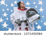 grandmother astronaut  going to ... | Shutterstock . vector #1371450584