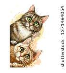 cats. wall sticker. graphic ... | Shutterstock .eps vector #1371464054
