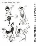 set of flamenco dance poses... | Shutterstock .eps vector #1371490847