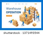 isometric workers in a... | Shutterstock .eps vector #1371493544