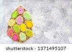 easter cookies egg shape ... | Shutterstock . vector #1371495107