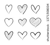 heart hand drawn icons set... | Shutterstock .eps vector #1371508034