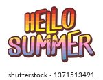 hello summer text illustration  ... | Shutterstock .eps vector #1371513491