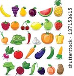 cartoon vegetables and fruits | Shutterstock .eps vector #137153615