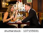 happy couple have a romantic... | Shutterstock . vector #137155031