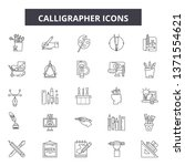 calligrapher line icons  signs... | Shutterstock .eps vector #1371554621