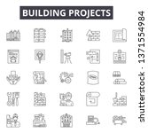 building projects line icons ... | Shutterstock .eps vector #1371554984